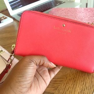 Kate Spade red saffiano leather wallet